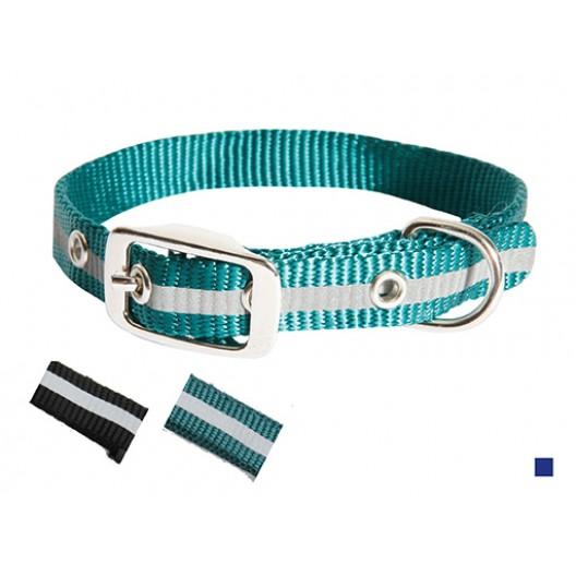 Купить Ошейник нейлон светоотражающий 20 мм - 50 см синий