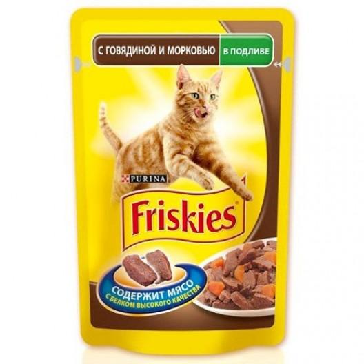 Купить Friskies для кошек с говядиной и морковью в подливе 100 г.
