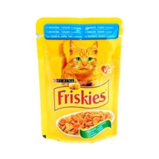 Купить Friskies для кошек с лососем и тунцом в подливе 100 г.