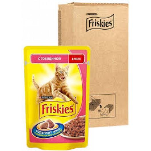 Купить Friskies для кошек говядина в желе 100 г.