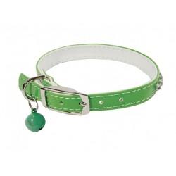 Ошейник Синтетик двойной прошитый со стразами и бубенчиком зеленый