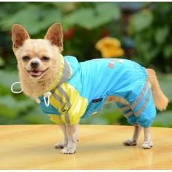 Дождевик Комбинезон синий с желтыми полосками с сумкой 30 см