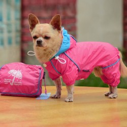 Дождевик - комбинезон розовый с сумкой S
