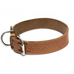 Ошейник кожаный с накаткой и синтепоном 35 мм, 50-59 см