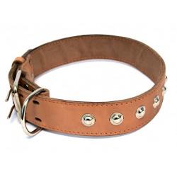 Ошейник кожаный двойной с украшениями, кольцо перед пряжкой 30 мм, 49-58 см
