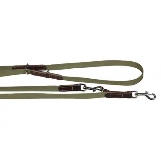 Купить Поводок брезентовый переменной длины комбинированный с кожей 25 мм, длина 1,2-2 м