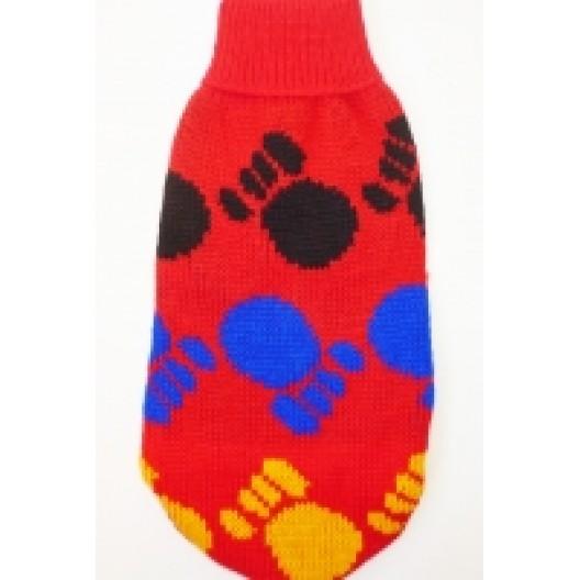 Купить Свитер красный разноцветные лапки