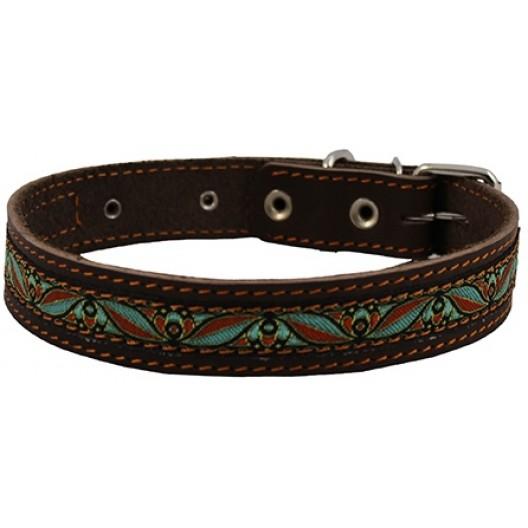 Купить Ошейник кожаный с украшением с синтепоном 25 мм, обх шеи 39-46 см