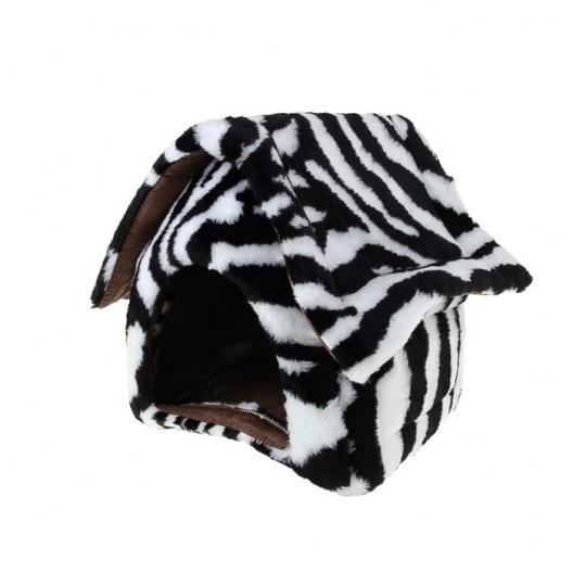 Купить Домик меховой 34*32*35 см, черно-белый