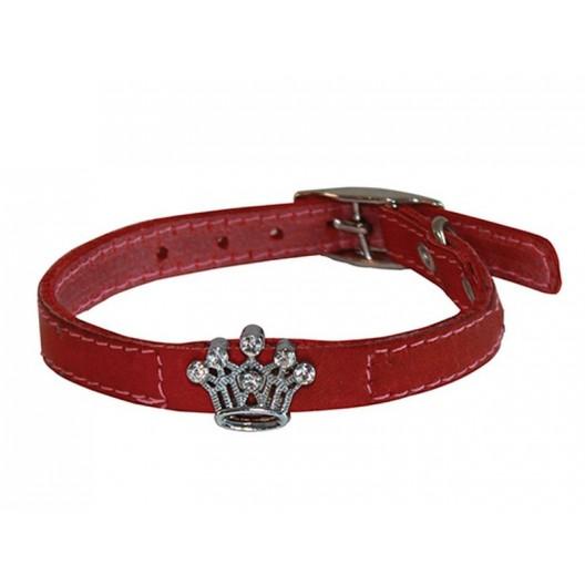 Купить Ошейник кожаный Флер с украшением Корона со стразами 10 мм, обх шеи 16-20 см