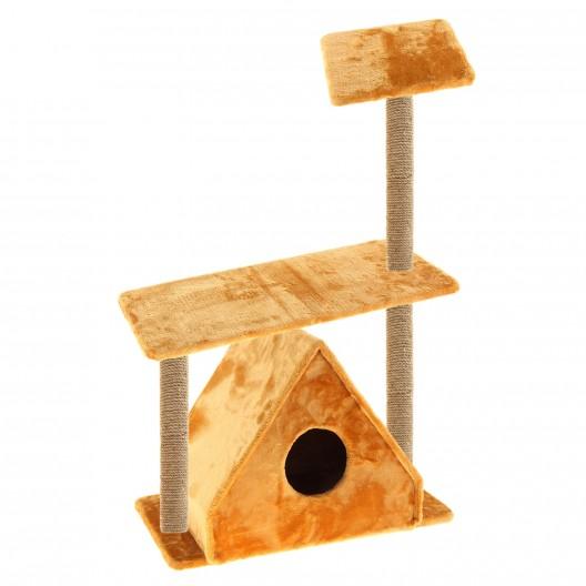 Купить Когтеточка с треуголным домиком и двумя полками 67*40*105 см