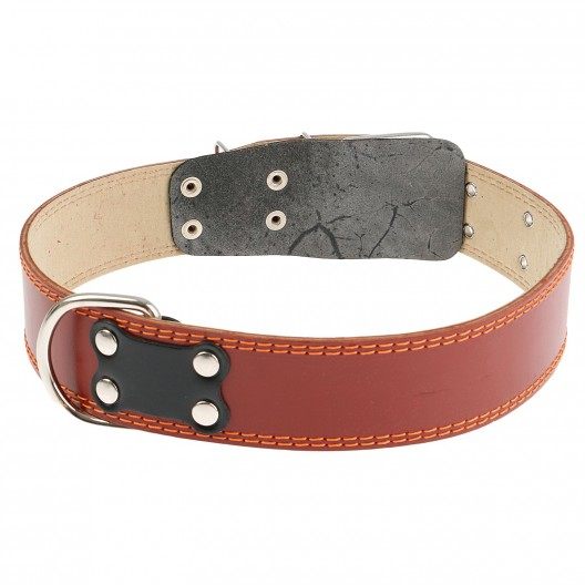 Купить Ошейник кожаный с подкладом 82,5*4,5 см, с выносным кольцом
