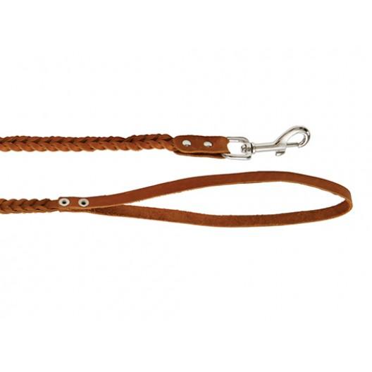 Купить Поводок кожаный плетеный 8 мм, длиа 1,25 м.