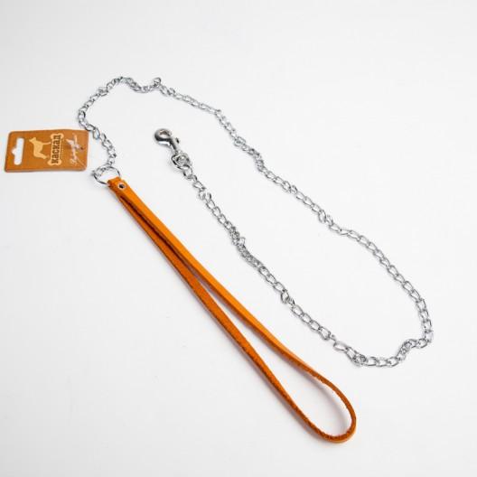 Купить Поводок цепной с кожаной ручкой 120 см
