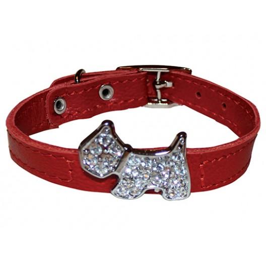 Купить Ошейник кожаный Флер с украшением Собака со стразами