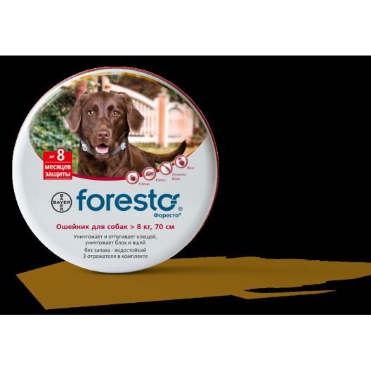 Купить Ошейник Форесто для собак более 8 кг от клещей, блох, вшей 70 см