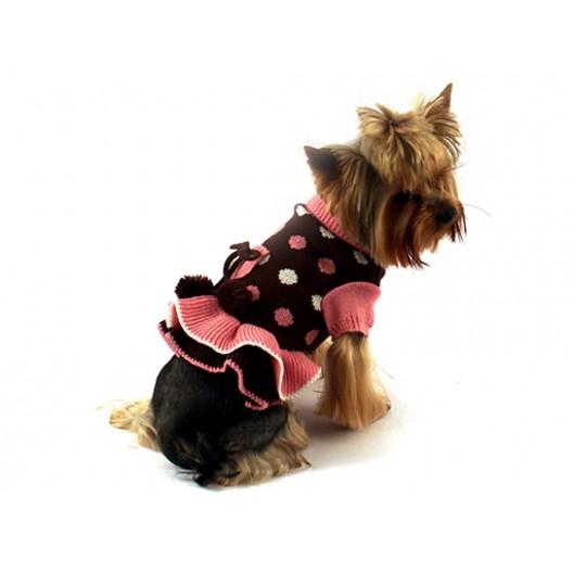 Купить Платье вязаное Горошек коричневое с розовым 35 см