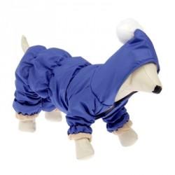 Комбинезон зимний синий с капюшоном и помпоном, L