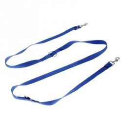 Поводок 2 м с трехточечной фиксацией (на руку, плечо/талию, рядом), 2 карабина, синий