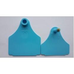 Бирка двойная пластик 4,9*4 без № металл канюля синяя