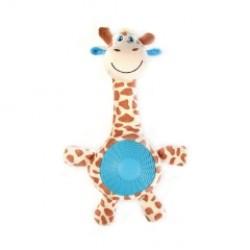 Игрушка плюшевая с резиновым животиком и пищалкой Жираф, 21 см