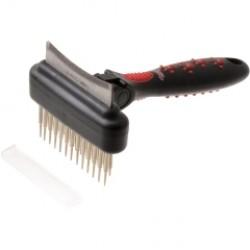 Грабли двухсторонние двухрядные плавающий зуб с фурминатором с изгибом, 60 зубьев
