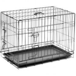 Клетка №3, пласт. поддон, 2 двери, эмаль+ножки 75*48*53 см