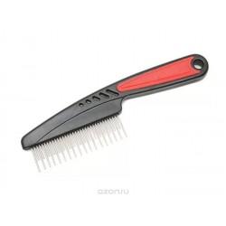 Расческа с прорезиненной ручкой вращающийся разный длинный и короткий зуб