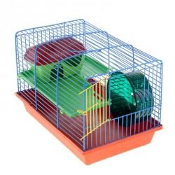 Клетка для грызунов 2 этажная, пластиковые полочки, лесенка, домик, колесо 36*24*27 см
