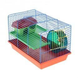 Клетка для грызунов 2 этажа, метал.полочки, лесенка, домик, колесо (полукруглая) 36*24*29 см