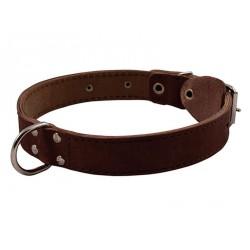 Ошейник кожаный двойной с кольцом посередине ширина 45мм, обхват шеи от63-72