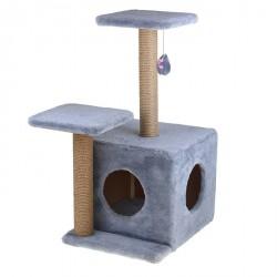 """Домик - когтеточка """"Квадратный трехэтажный с двумя окошками"""", джут 45*47*75 см"""