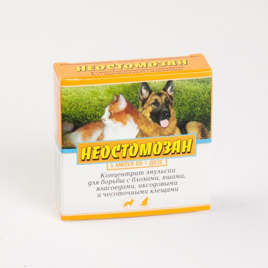 Купить Неостомозан 2 мл, 5 амп. от блох, вшей, власоедов и клещей