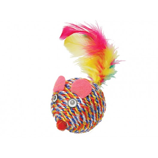 Купить Когтеточка- мышь  с перьями 5 см