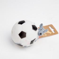 Мышь на футбольном мяче резиновая 10см