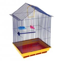 Клетка для птиц большая, крыша-домик (поилка,кормушка,жердочка,качель), 35х28х55см.