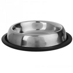 Миска металлическая с нескользящим основанием рельефная, 950мл.