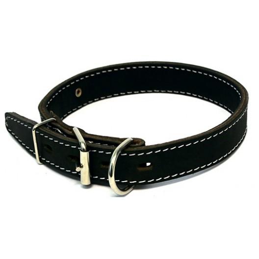Купить Ошейник кожаный двойной (спилок) с п/к посередине с укр. 45мм, обх.шеи 57-66 см