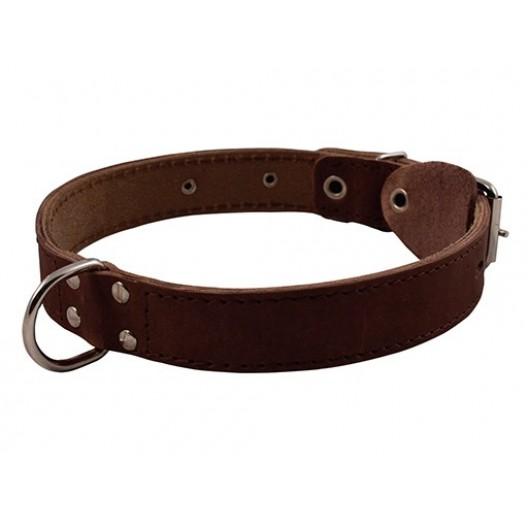 Купить Ошейник кожаный двойной с украшением, кольцо посередине 20 мм, обх.шеи 27-35 см