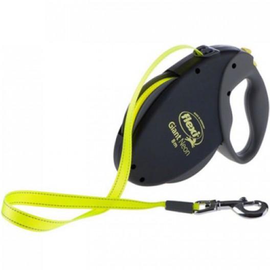 Рулетка Flexi GIANT Neon 8м,50кг, ремень, черный/желтый
