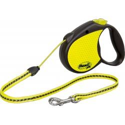 Рулетка Flexi Neon New Classic 5 м, 20 кг, трос, черный/желтый