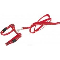 комплект поводок 10мм,120см+шлейка 10мм 20/40см красный