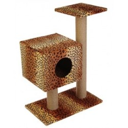 Когтеточка Кубизм №4 (дом на подставке,2 когтеточки,лежак). Джут 35*30*85 см