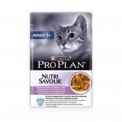 Проплан конс. д/кошек старше 7лет в соусе с индейкой (85гр.)