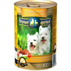 Влажный корм Верные друзья для щенков,курица/печень в соусе 400 гр
