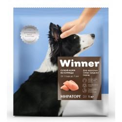 Winner,сухой корм из курицы для взрослых собак средних пород,1 кг (Мираторг)