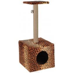 Когтеточка Столбик куб с площадкой.Джут/игрушка 35*30*85 см