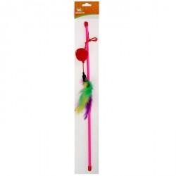 2830759 дразнилка-удочка с шариком из лозы и перьями