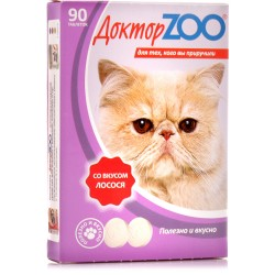 Доктор зоо витамины д/кошек со вкусом лосося 90 таб.