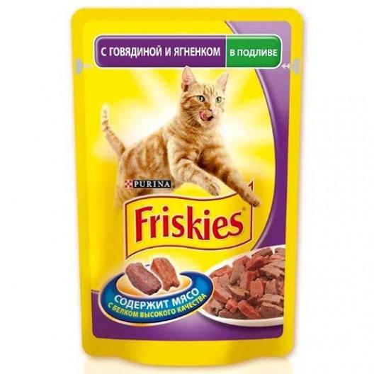 Купить Friskies для кошек в подливе с говядиной и ягненком 100 г.